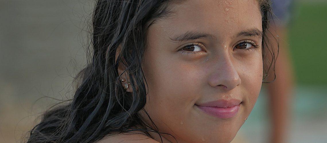 girl, swim, young